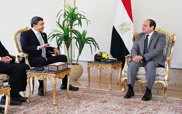 الرئيس السيسي خلال استقبال وزير الخارجية الإماراتي