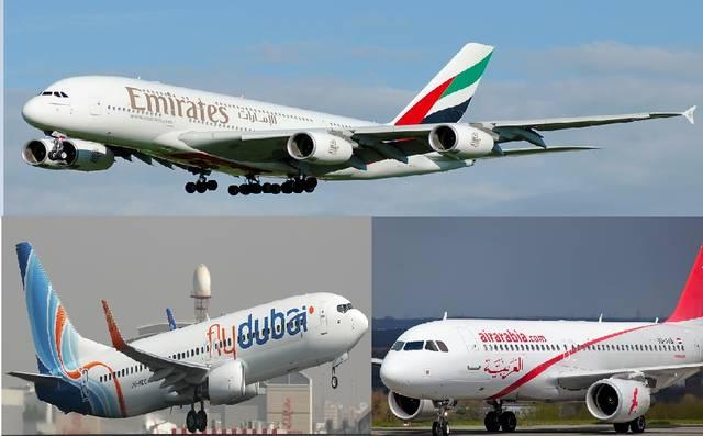 طائرات تابعة لعدد من شركات الطيران الإماراتية