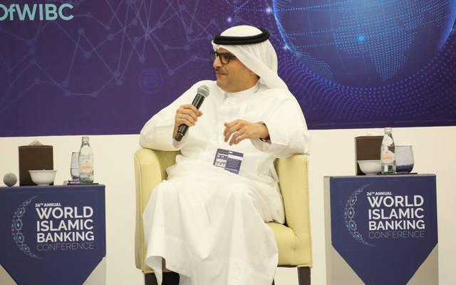 """الرئيس التنفيذي في """"بيتك""""، مازن الناهض، أثناء مشاركته في المؤتمر العالمي للمصارف الإسلامية بالبحرين"""