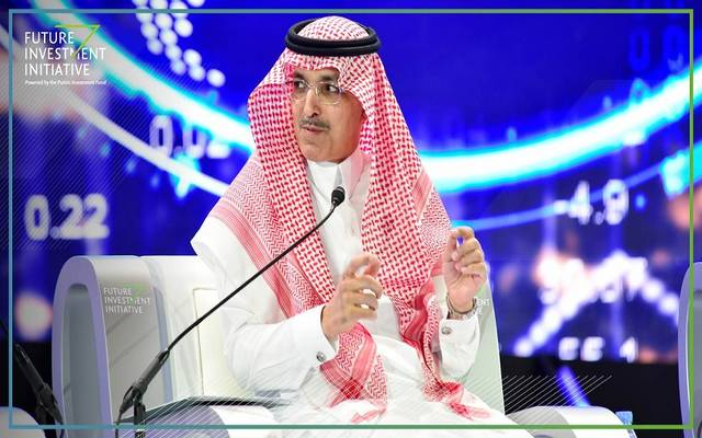 """وزير المالية السعودي محمد الجدعان خلال """"مبادرة مستقبل الاستثمار بالمملكة لعام 2018"""""""
