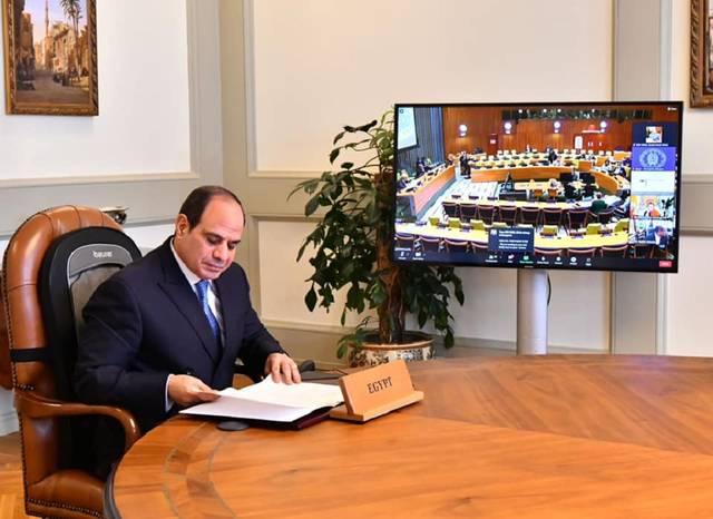 """جانب من مشاركة الرئيس المصري اليوم عبر الفيديو كونفرانس في اجتماع """"رؤساء الدول والحكومات حول المناخ"""""""