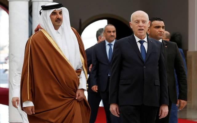 رئيس الجمهورية التونسية  قيس سعيد وأمير قطرالشيخ تميم بن حمد آل ثاني
