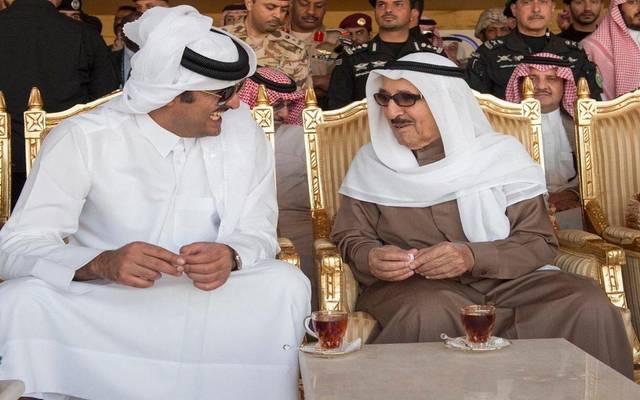 أمير قطرمع الشیخ صباح الأحمد الجابر الصباح أمير الكويت