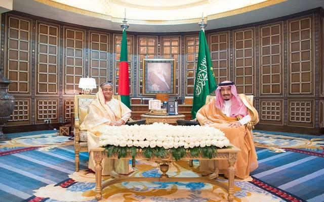 اجتماع سابق لخادم الحرمين الشريفين مع رئيسة وزراء بنجلاديش