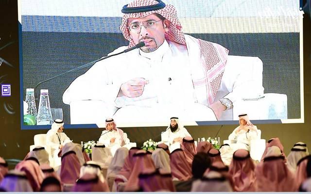"""وزير الصناعة والثروة المعدنية السعودي بندر الخريف خلال ملتقى """"صناعيي الرياض"""""""