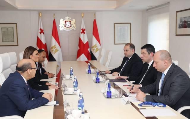 جانب من عقد وزيرة الاستثمار المصرية سحر نصر مع الوفد الجورجي