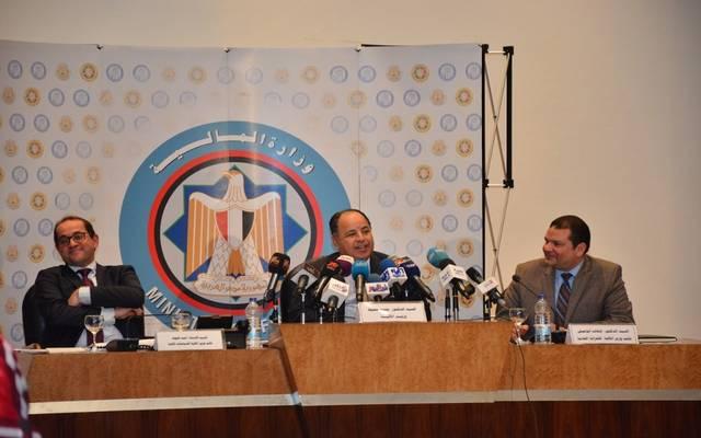 وزير المالية محمد معيط خلال مؤتمر أداء الموازنة العامة للدولة