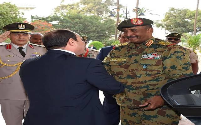 الرئيس السيسي خلال استقبال الفريق أول عبد الفتاح البرهان بقصر الاتحادية