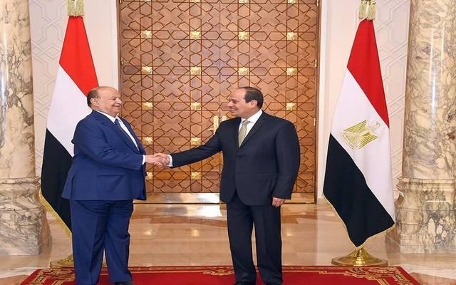الرئيس السيسي خلال استقبال الرئيس اليمني بقصر الاتحادية