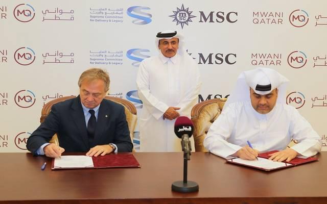 جانب من توقيع الاتفاقية بين وزارة المواصلات والاتصالات القطرية وشركة  البحر الأبيض المتوسط للنقل البحري
