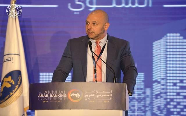 الأمين العام لاتحاد البورصات العربية، وائل الدكاني، خلال المؤتمر المصرفي العربي مصر 2019م