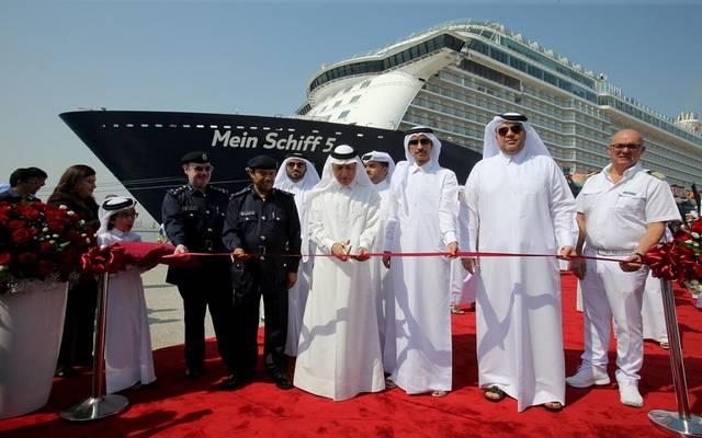 خلال افتتاح مبنى الركاب المؤقت الجديد في ميناء الدوحة