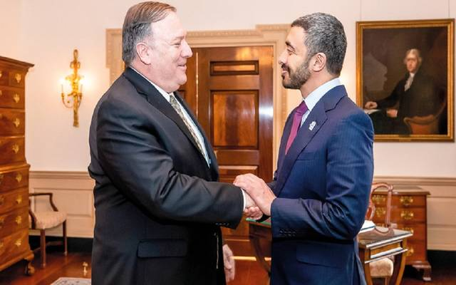 الشيخ عبدالله بن زايد آل نهيان وزير الخارجية الإماراتي مع وزير خارجية أمريكا - أرشيفية