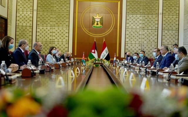 خلال استقبال رئيس الوزراء العراقي، مصطفى الكاظمي، الوفد الأردني برئاسة رئيس الوزراء بشر الخصاونة