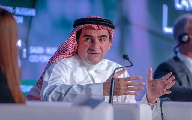 ياسر الرميان محافظ صندوق الاستثمارات العامة السعودي ورئيس مجلس إدارة شركة أرامكو خلال المنتدى السعودي الروسي