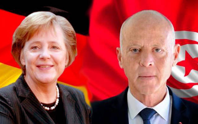 الرئيس التونسي قيس سعيد والمستشارة الألمانية أنجيلا ميركل