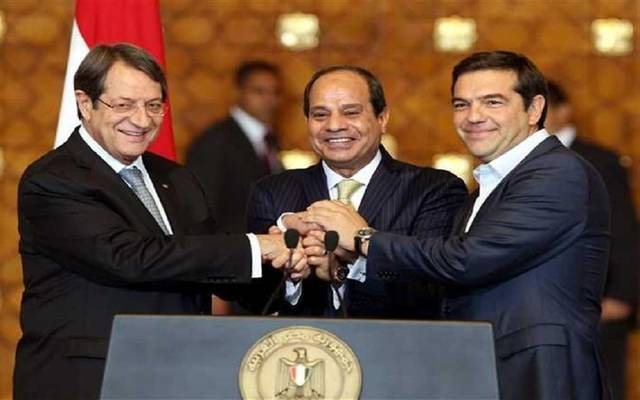 الرئيس المصري عبدالفتاح السيسي والرئيس القبرصي نيكوس اناستاسياديس ورئيس وزراء اليونان أليكسيس تسيبراس