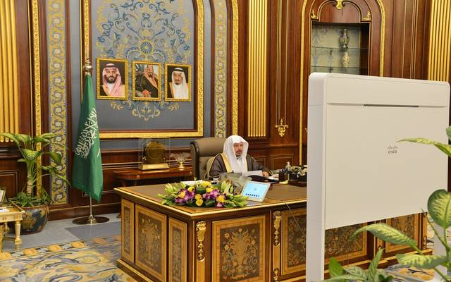 رئيس مجلس الشورى السعودي، عبدالله آل الشيخ، في افتتاح الدورة الثامنة