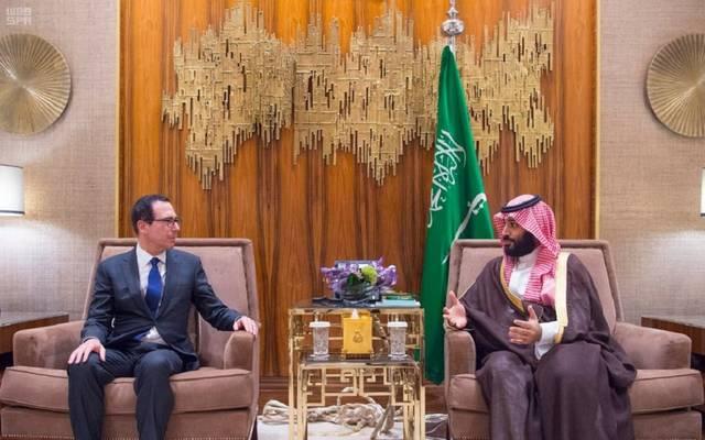 ولي عهد المملكة خلال لقاء وزير الخزانة الامريكي في الرياض