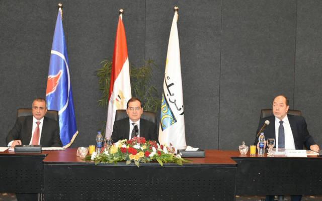 وزير البترول، طارق الملا، خلال رئاسته اجتماع الجمعية العامة لشركة أنربك