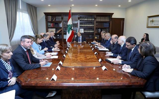 جانب من اجتماع الرئيس اللبناني