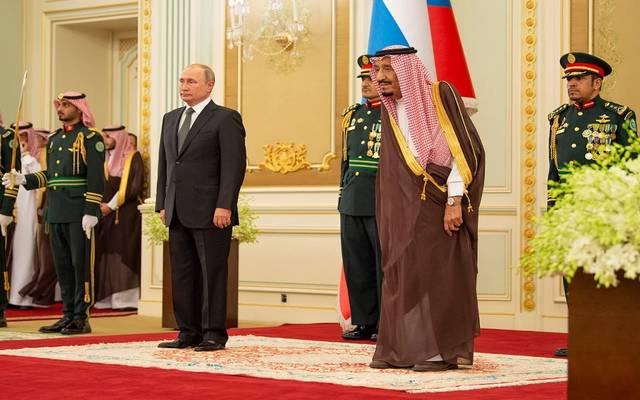 استقبال خادم الحرمين الشريفين، الملك سلمان بن عبد العزيز آل سعود، الرئيس الروسي فلاديميير بوتين اليوم