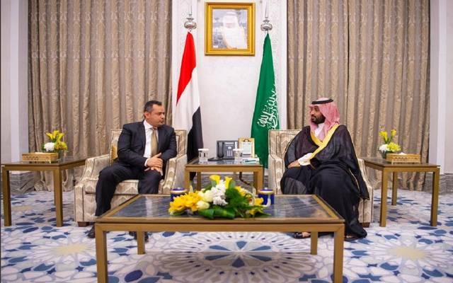 الأمير محمد بن سلمان بن عبدالعزيز مع رئيس الوزراء اليمني