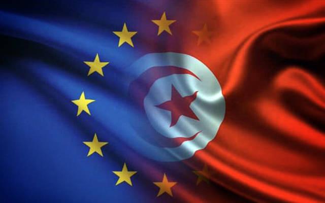 شعار الاتحاد الأوروبي وعلم الجمهورية التونسية