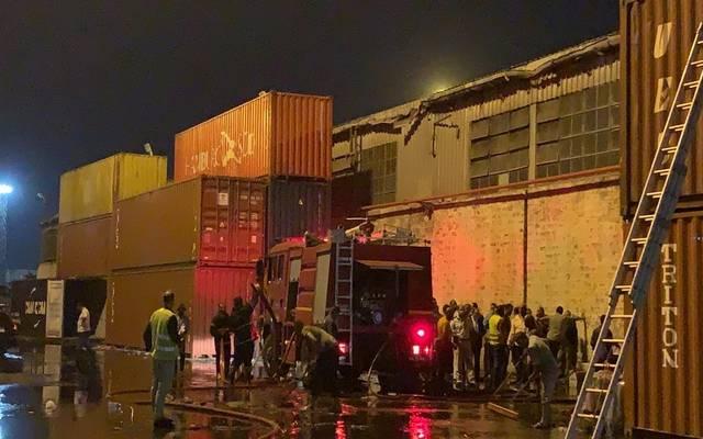 إخماد حريق بمخزن بميناء غرب بورسعيد
