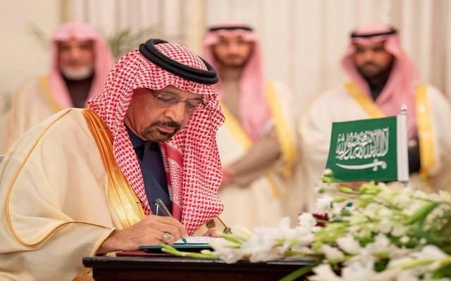 وزير الطاقة السعودي خالد الفالح خلال توقيع الاتفاقية