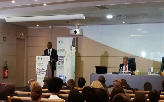 جانب من مؤتمر البنك لعرض التقرير السنوي