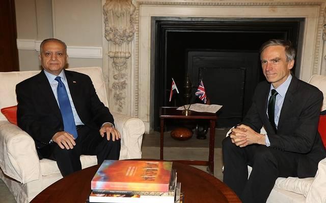 جانب من لقاء وزير الخارجية العراقي محمد علي الحكيم ونظيره البريطاني أندرو موريسون