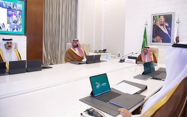 خادم الحرمين الشريفين الملك سلمان بن عبدالعزيز آل سعود وولي العهد الأمير محمد بن سلمان، خلال رئاسة قمة العشرين أمس