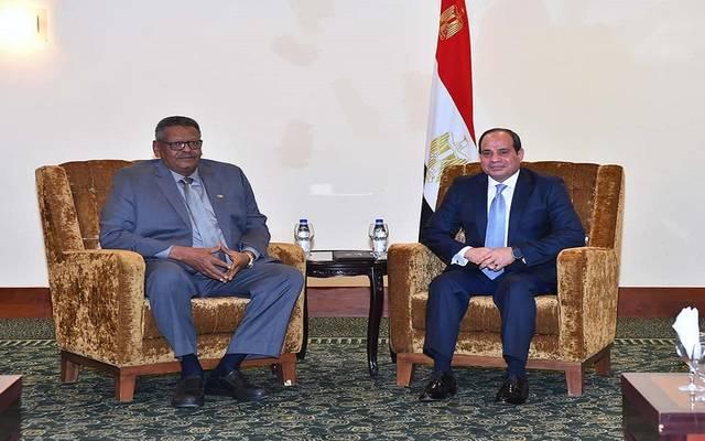 الرئيس السيسي خلال لقاء الفريق أول بكري حسن صالح النائب الأول لرئيس جمهورية السودان رئيس مجلس الوزراء القومي