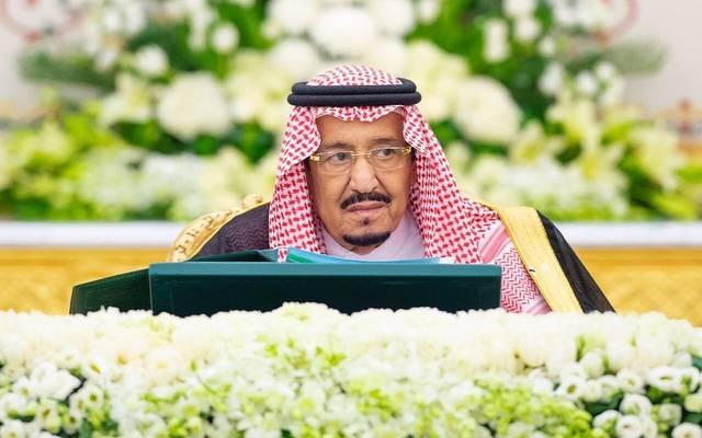 خادم الحرمين الشريفين الملك سلمان بن عبد العزيز آل سعود، خلال الجلسة التي عقدها مجلس الوزراء في قصر اليمامة