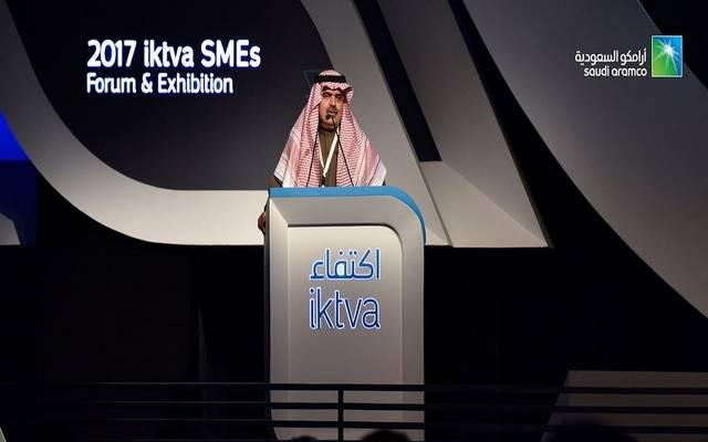 رئيس وحدة المحتوى المحلي وتنمية القطاع الخاص بالسعودية فهد السكيت خلال مؤتمر سابق