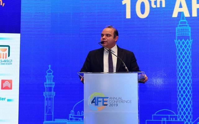 محمد فريد خلال مؤتمر البورصات العربية