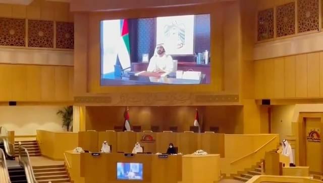 الشيخ محمد بن راشد خلال افتتاحه عن بعد دور الانعقاد الجديد للمجلس الوطني الاتحادي