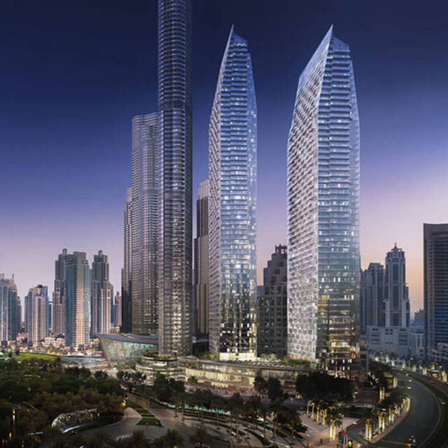 The Address Residences Dubai Opera consists of two high-rise towers with serviced apartments