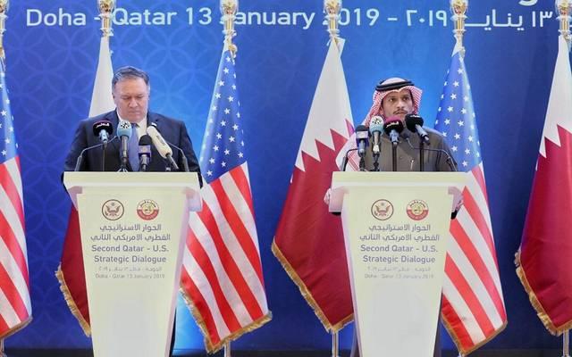 وزير الخارجية القطري محمد بن عبد الرحمن آل ثاني، ووزير الخارجية الأمريكي مايكل بومبيو