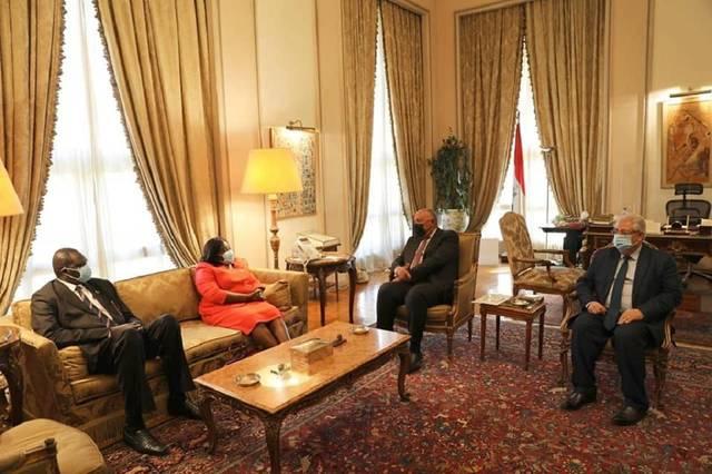 جانب من لقاء سامح شكري مع  بياتريس خميسا واني وزيرة خارجية جمهورية جنوب السودان