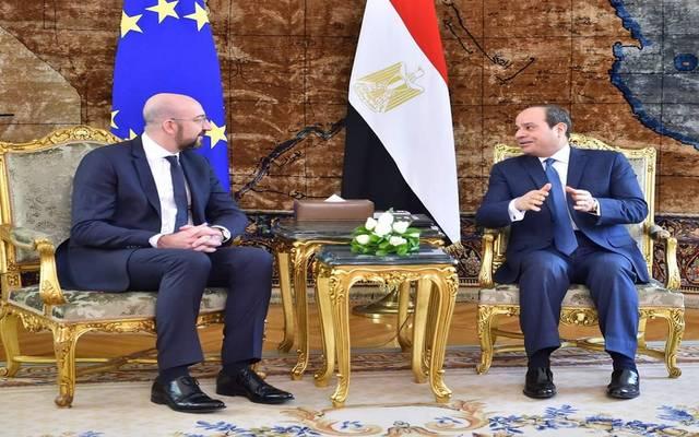 الرئيس عبد الفتاح السيسي، مع شارل ميشيل، رئيس المجلس الأوروبي - أرشيفية