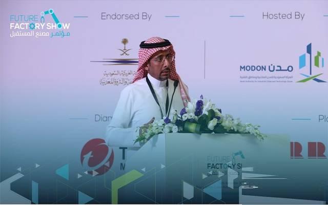 """وزير الصناعة السعودي بندر الخريف خلال مؤتمر """"مصنع المستقبل"""" بالمملكة"""