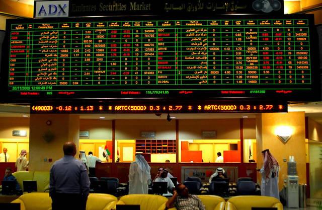 شاشة التداول في سوق أبوظبي المالي