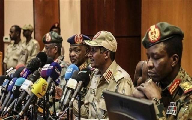 جانب من مؤتمر صحفي سابق للمجلس العسكري السوداني