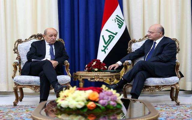 لقاء الرئيس العراقي برهم صالح، وزير خارجية فرنسا جان إيف لودريان، في قصر السلام ببغداد