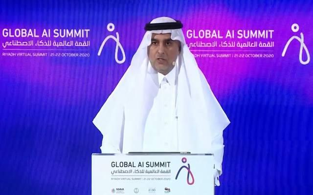 رئيس الهيئة السعودية للبيانات والذكاء الاصطناعي عبدالله الغامدي خلال قمة الذكاء الاصطناعي بالرياض