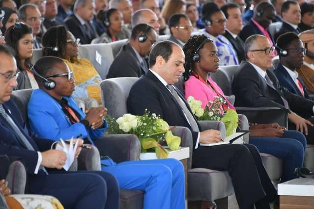 الرئيس عبدالفتاح السيسي أثناء مشاركته في ملتقى الشباب العربي الإفريقي