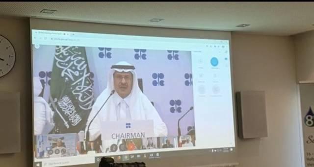 وزير النفط السعودي خلال اجتماع أوبك + اليوم