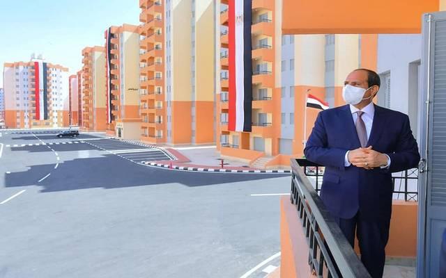 """خلال افتتاح الرئيس السيسي أمس الأحد مشروع اسكان """"الاسمرات 3"""""""